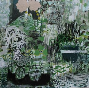 Daisy Trays acrylic/canvas 45x45