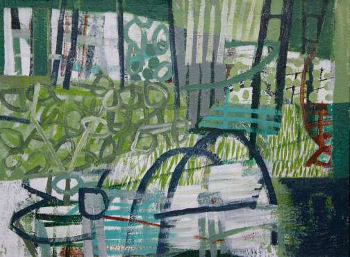 "Trolley Park 2 acrylic/canvas 18"" x 24"""